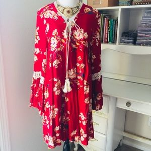 Entro Red tunic dress size small New
